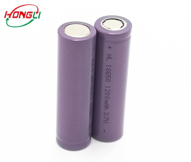 Cylindrical 18650 Lithium Ion Cells , 18650 Rechargeable Battery 1200mAh 3.7V